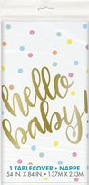 Hello Baby Gold Plastic Tablecover